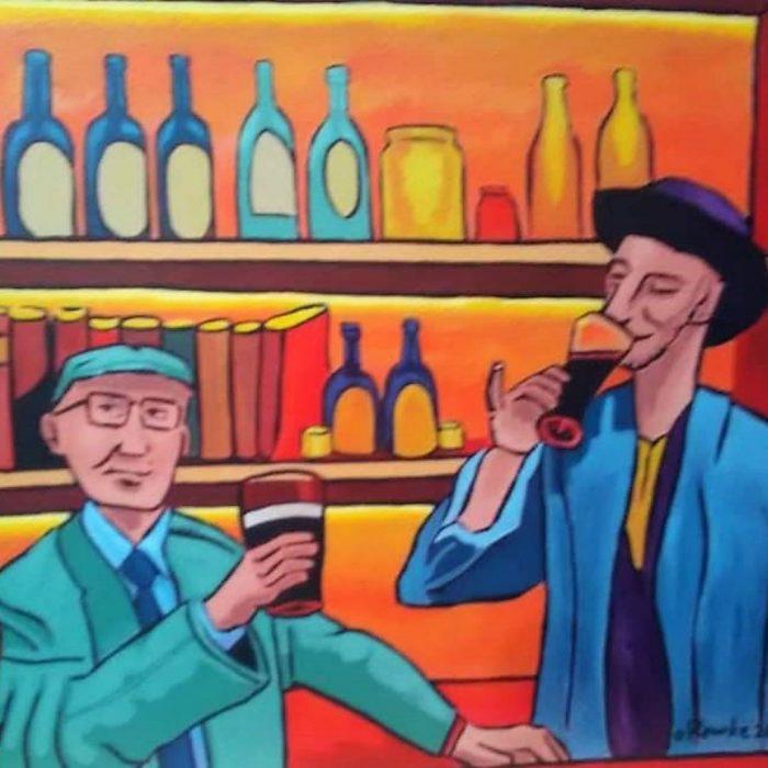Mural of two men drinking in an irish pub by Artist David O'Rourke