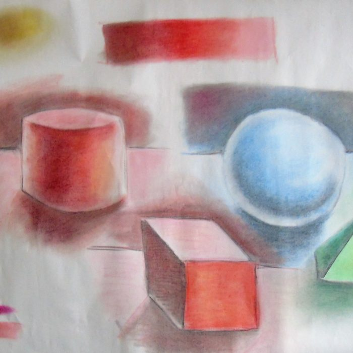 Coloured chalk 3 D shapes and shading for art lesson