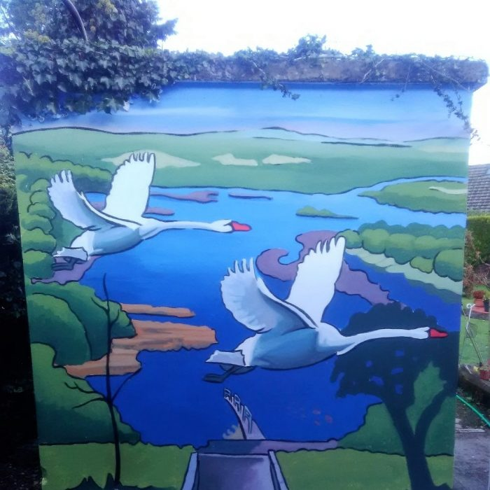 Mural of the Children of Lir swans flying over a lake by Irish Artist David O'Rourke