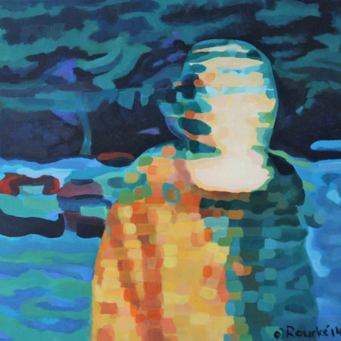 Print of an abstract painting of a faceless person at night time by Irish Artist David O'Rourke