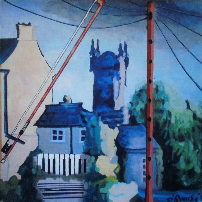 Ennis Trad- Print of a painting of Ennis, Co. Clare, abstractly merging Traditional Irish music into the town buildings, by Irish Artist David O'Rourke