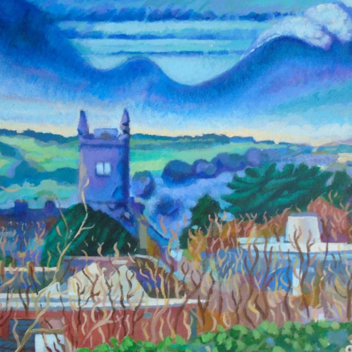 Print of a painting of Ennis, Co. Clare, a townscape showing the church, by Irish Artist David O'Rourke