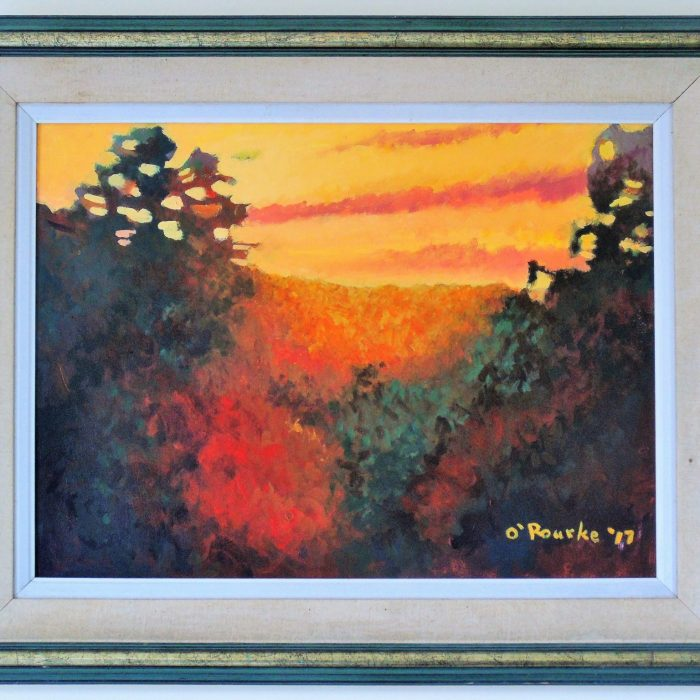 Painting of Sunset over fields with orange and yellow sky by Irish Artist David O'Rourke