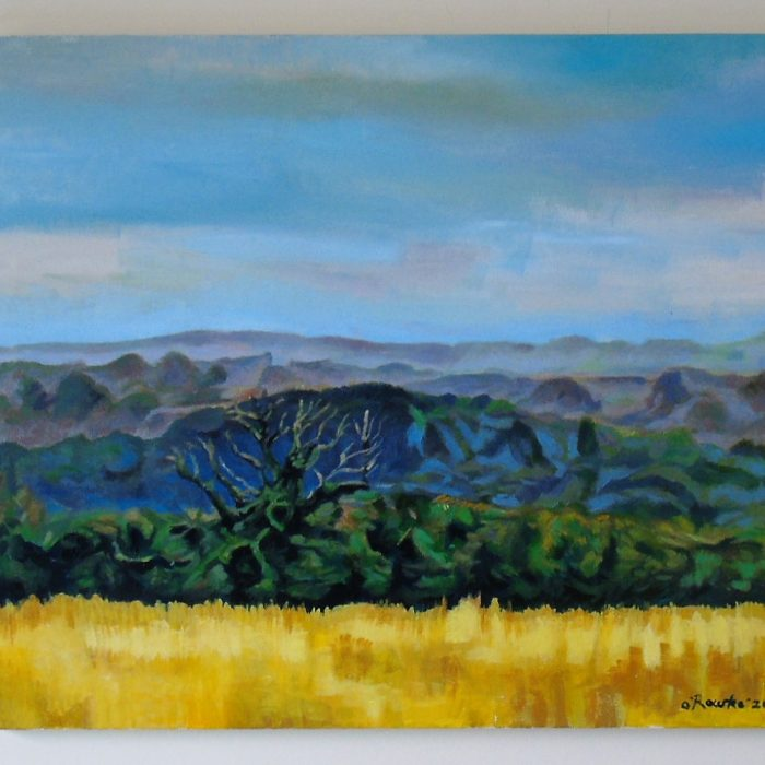 Painting of a landscape with yellow fields and a hawthorn tree by Irish Artist David O'Rourke