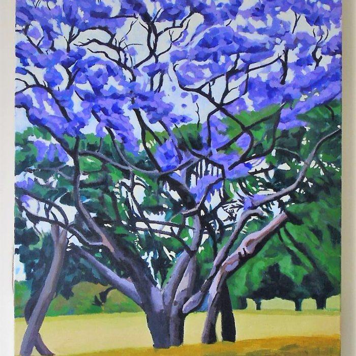 Painting of a Purple Jacoranda Tree with yellow grass beneath by Irish Artist David O'Rourke