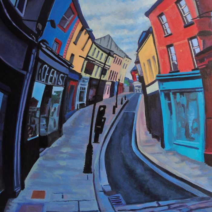 Print of a painting of Ennis, Co. Clare during Lockdown Covid Pandemic with empty streets by Irish Artist David O'Rourke
