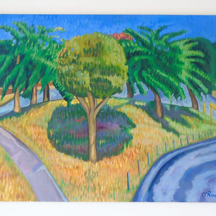 Painting of Marrickville, NSW, Australia showing yellow grass and trees by Irish Artist David O'Rourke