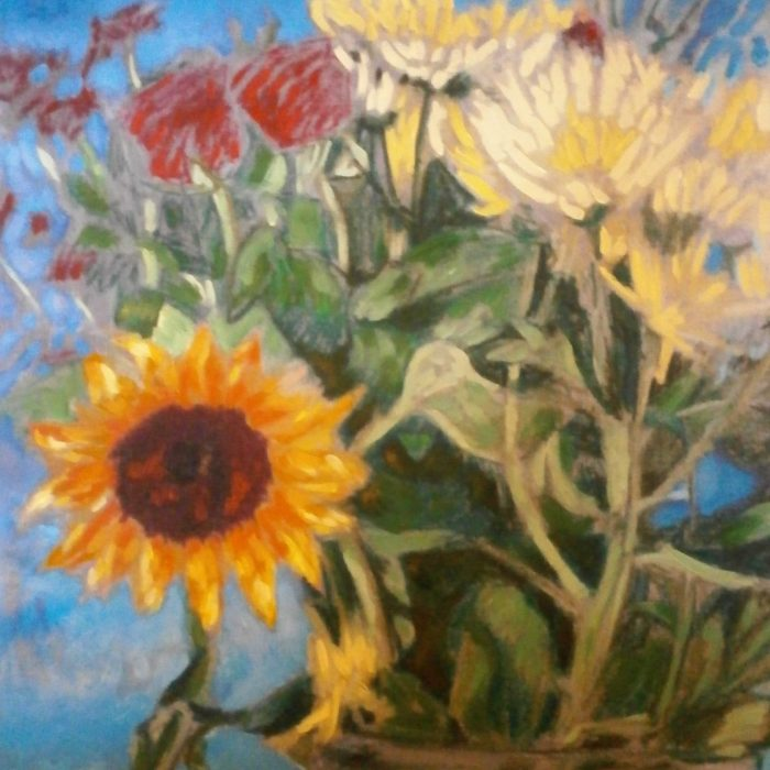 Print of a painting of flowers in a vase by Irish Artist David O'Rourke.