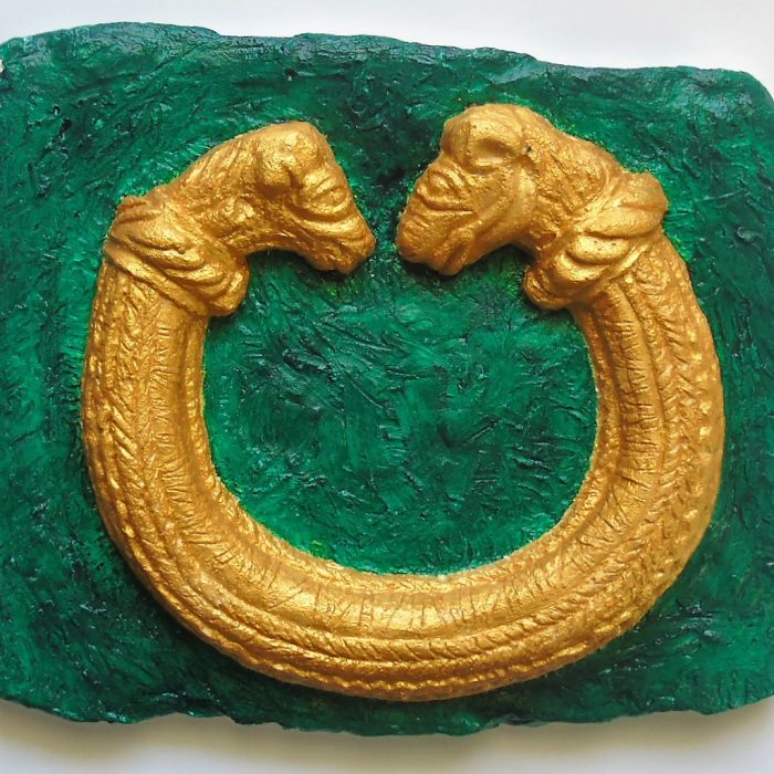 Sculpture Torc Hand Painted Plaster