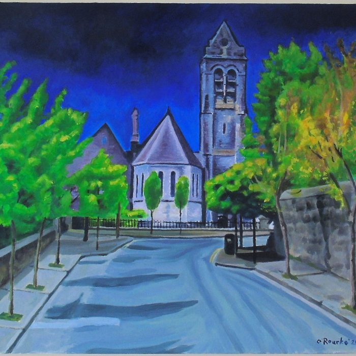 Painting of St Columbas Church Ennis, Co. Clare at night . By Irish Artist David O'Rourke