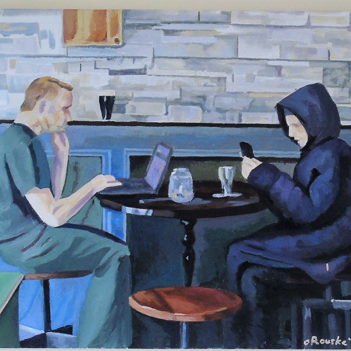 Painting of 2 people using technology in a cafe whilst not speaking to one another, Painting by Irish Artist David O'Rourke