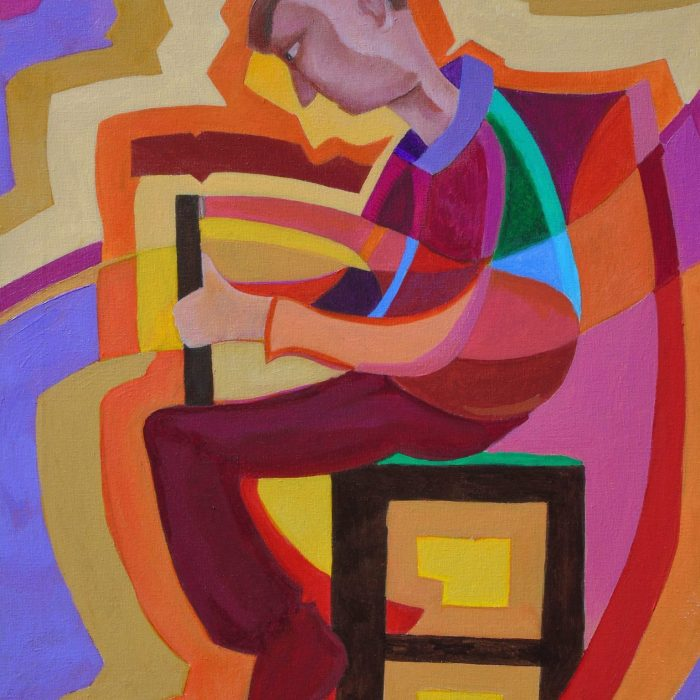 Print of a colourful painting of a piper sitting playing the bagpipes by Irish Artist David O'Rourke.