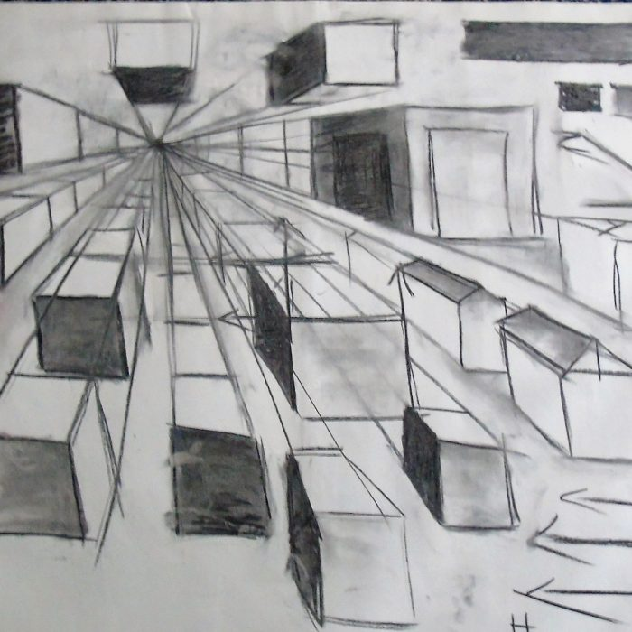 Sketch of 3 D Shapes with the artistic skill of perspective
