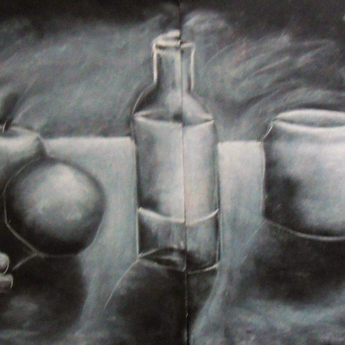 White chalk on black paper depicting fruit and a bottle still life image