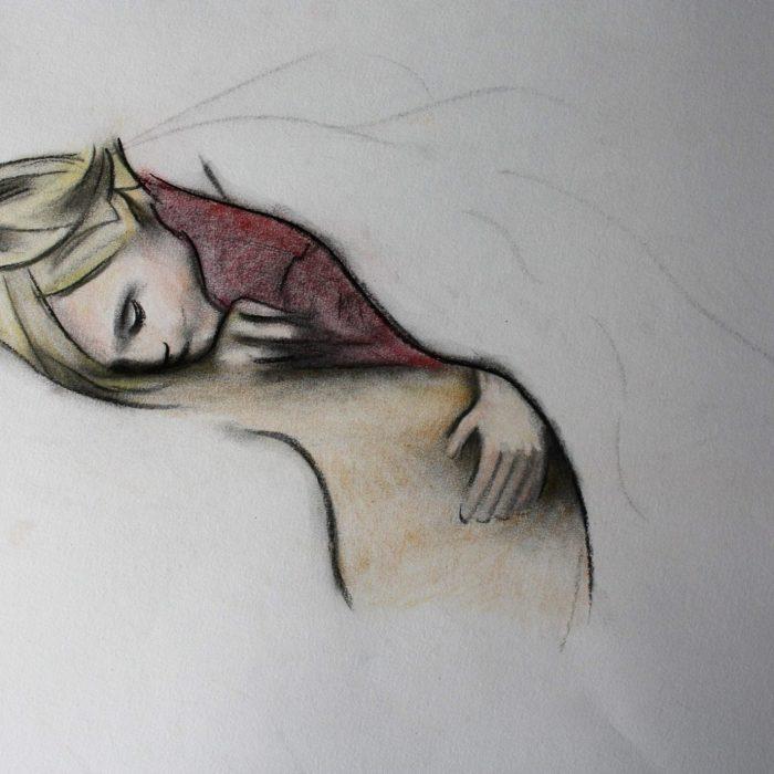 Print of a colour sketch of a child sleeping by Irish Artist David O'Rourke