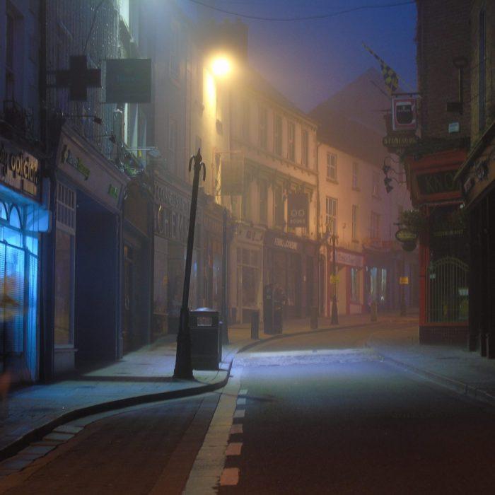 Photo of an empty Ennis street at night during Lockdown by Irish Artist David O'Rourke