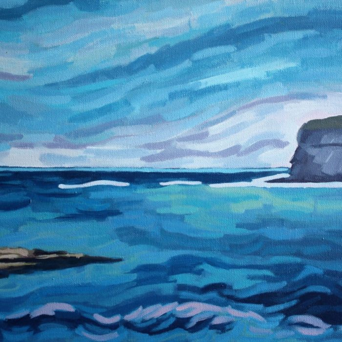 Print of a painting of Kilkee, Co. Clare, a blue seascape by Irish Artist David O'Rourke
