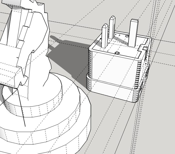 3D sketch up drawing of a plug and chess piece